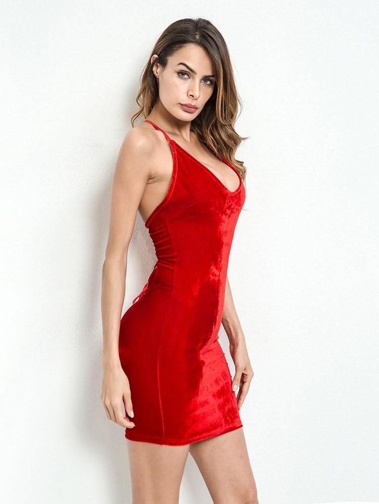 fe379350dcc1 Lace Up Back Velvet Bodycon Cami Dress | ROMWE