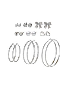 Bow & Heart & Hoop Design Earring Set