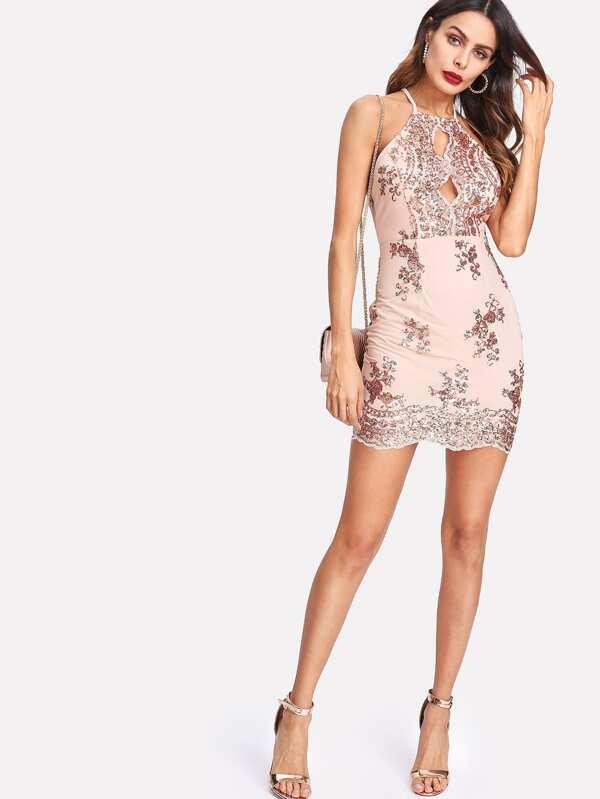 más popular descuento en venta diseño superior Vestido con abertura en la parte trasera y lentejuelas