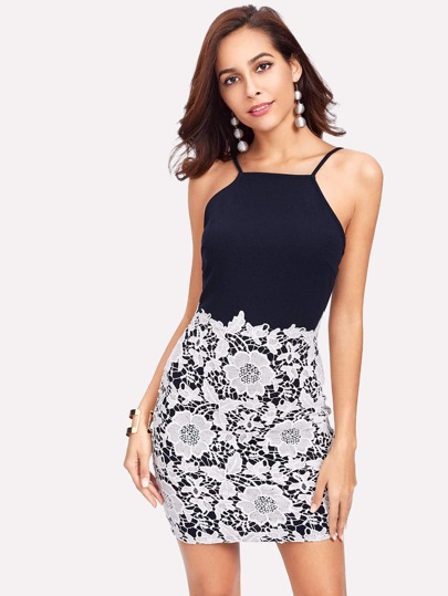 Contrast Floral Lace Overlay Cami Dress
