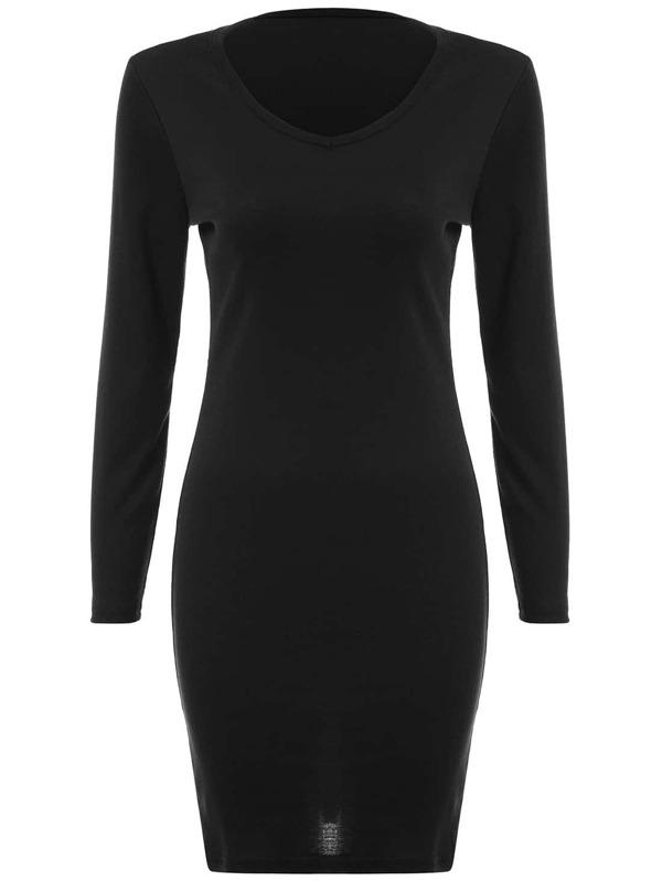 V Neck Long Sleeve Tight Black Dress Sheinsheinside