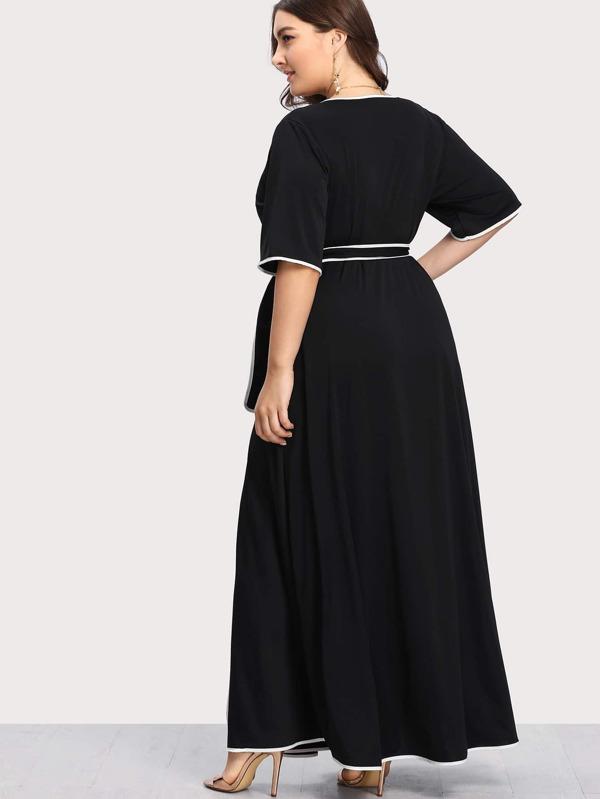 94fd1a6344 Plus Contrast Binding Self Belted Wrap Dress