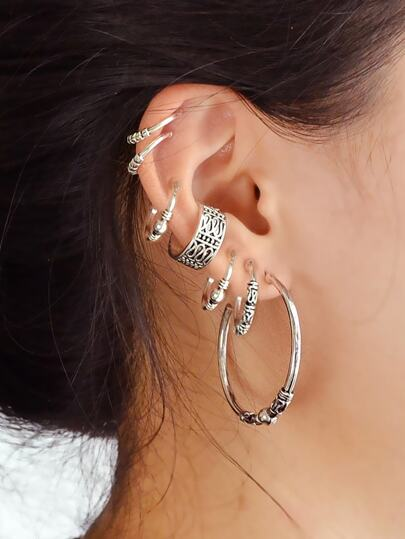 7Pcs/Set Bohemian Style Antique Silver Color Circle Hoop Earrings