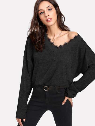Contrast Eyelash Lace Marled Knit Sweater