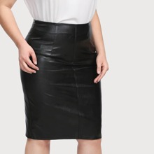 - Plus Faux Leather Pencil Skirt