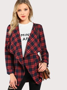 Waterfall Collar Checked Coat