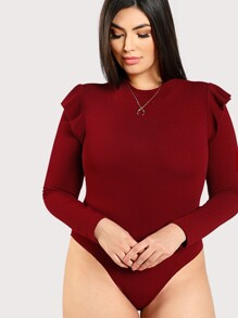 Plus Mock Neck Frill Shoulder Bodysuit