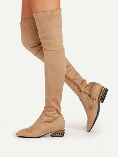 Square Toe Side Zipper Suede Boots