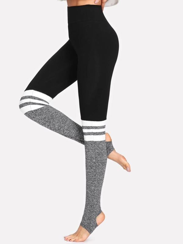 eb80161ff28a93 Two Tone Stirrup Leggings | SHEIN