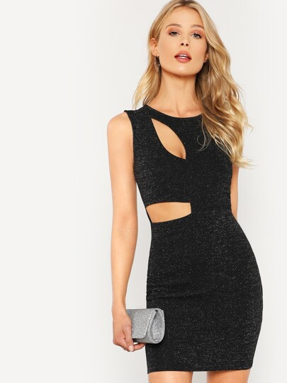 Cut Out Detail Glitter Dress