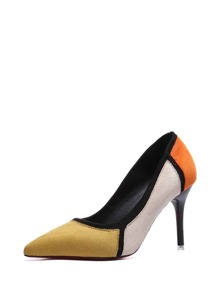 Pointed Toe Color Block Heels