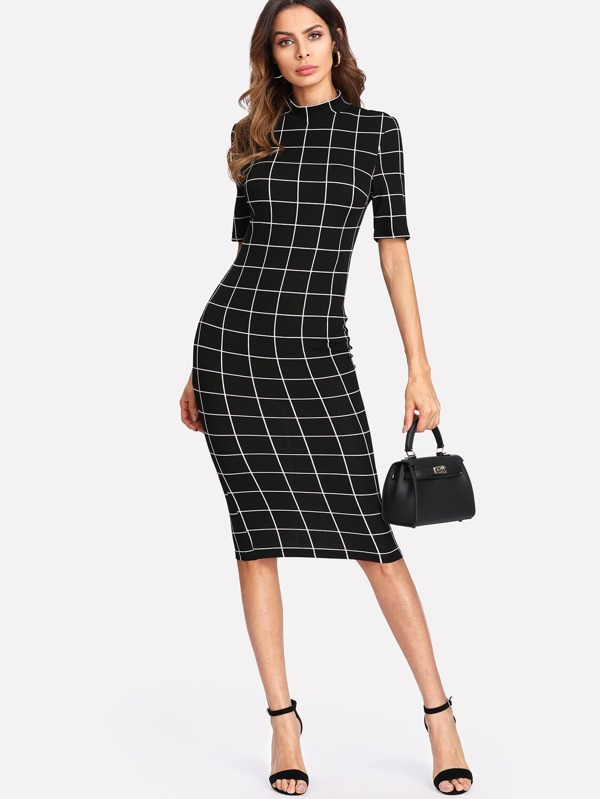 3b3ba47f85 Mock Neck Grid Fitted Dress | SHEIN