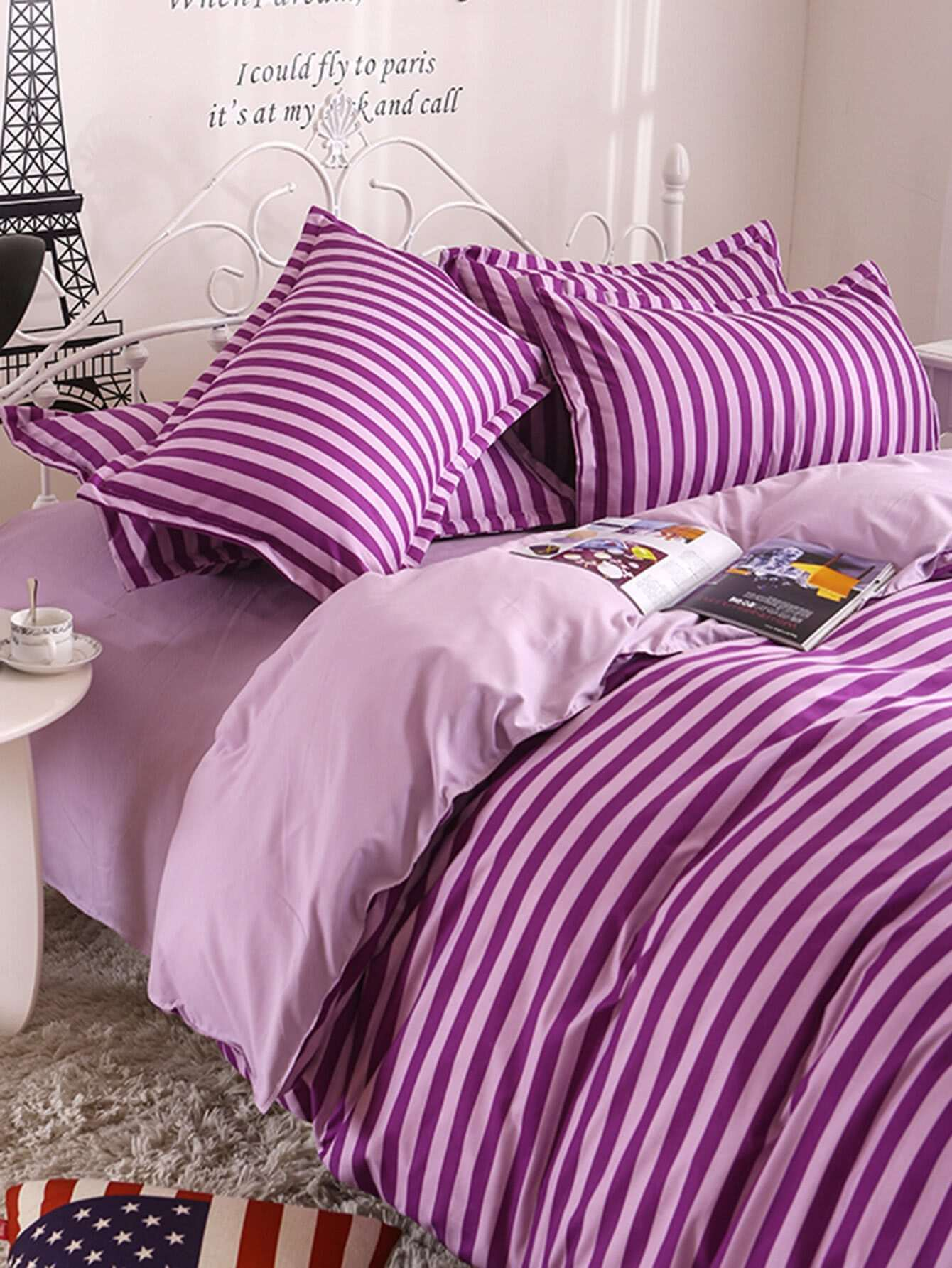 2 0m 4pcs Striped Duvet Cover Set