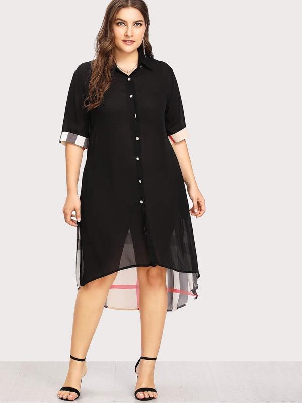 74f44720f3 Cheap Plus Button Front Plaid Contrast See Through Shirt Dress for sale  Australia