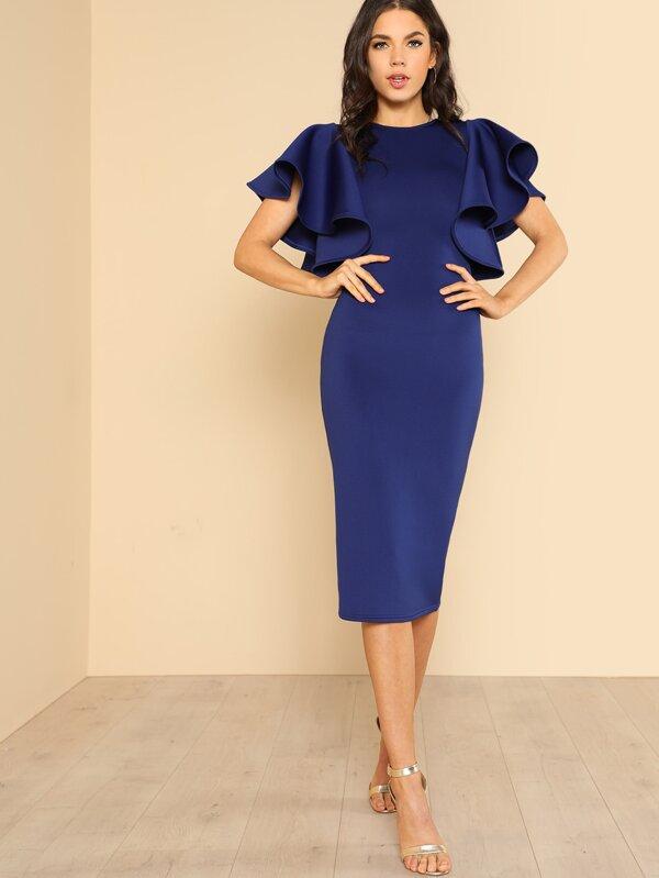 0e9011a87f Exaggerated Ruffle Sleeve Midi Dress | SHEIN IN