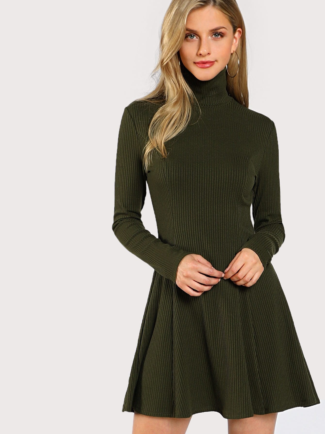 9d0d324605c7 Solid Long Sleeve Flowy Dress   SHEIN