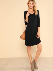 56c518f5a726 Quarter Sleeve Flowy Dress BLACK | SHEIN