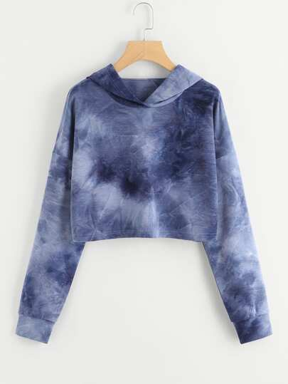 Drop Shoulder Tie Dye Crop Hoodie