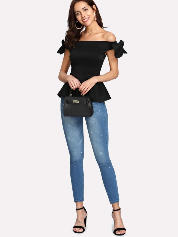 affbd7e249378e Bow Embellished Sleeve Peplum Bardot Top. AddThis Sharing Buttons