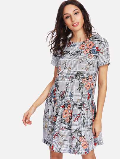Plaid And Flower Print Drop Waist Dress