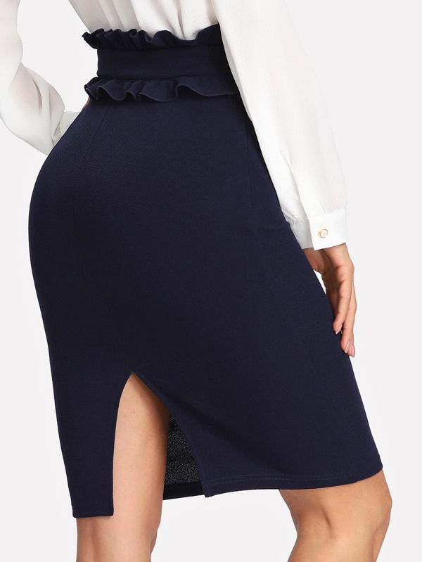 Ruffle Waist Slit Back Pencil Skirt  1e0fc673c77
