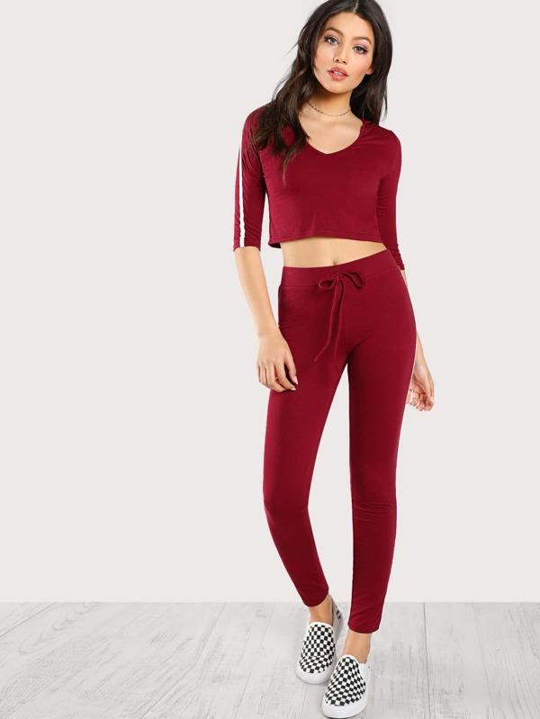 37b7646efb9964 Striped Side Crop Hoodie Tee With Sweatpants Set