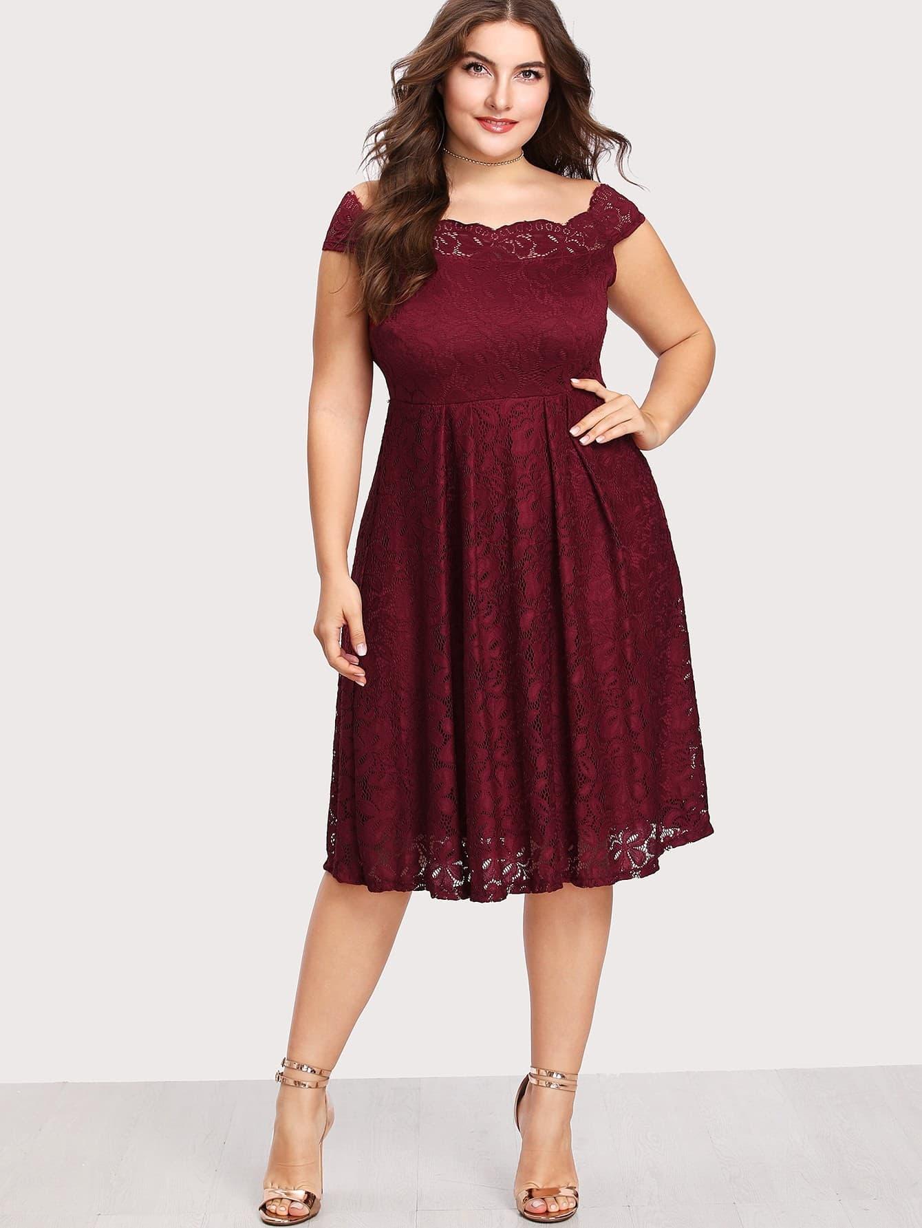 Plus Off Shoulder Lace Dress   SHEIN