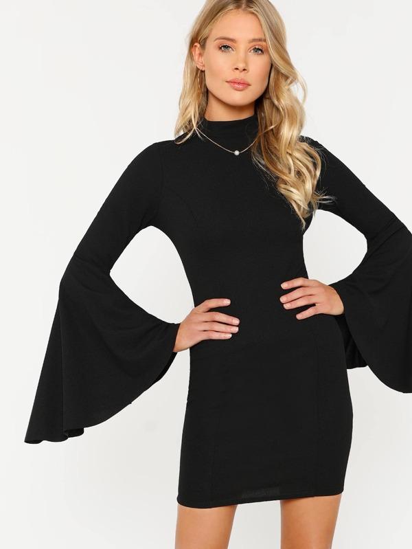 f73bd855bab Cheap Solid Mock Neck Bell Sleeve Dress BLACK for sale Australia