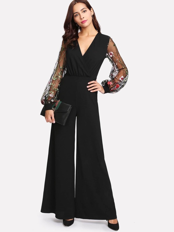 45868fbfb256 Botanical Embroidery Mesh Sleeve Wrap Jumpsuit
