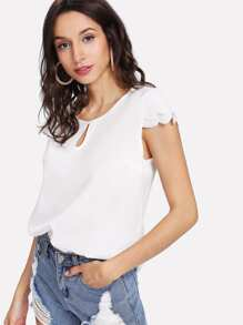 Cut Out Front Scallop Trim Top