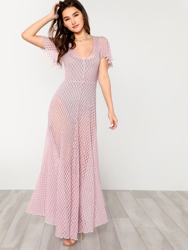 Deep V Neck Transparent Lace Dress -SheIn(Sheinside)