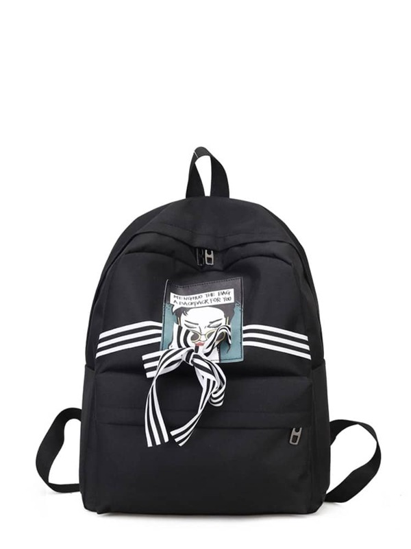 8b0439347ce Striped Bow Detail Backpack With Patch   SHEIN