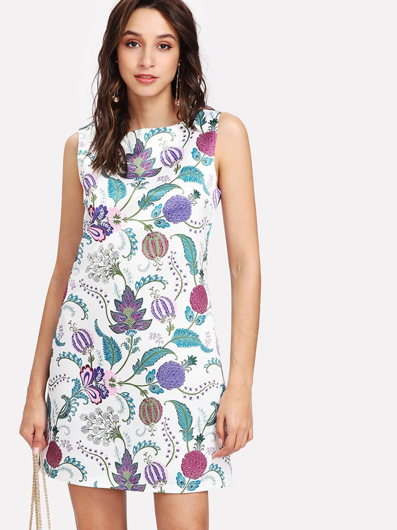 A Line Botanical Sleeveless Dress