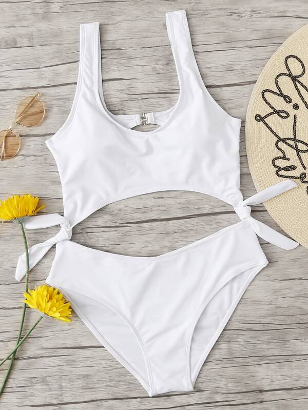 09c86494f9f Knot Cut Out Swimsuit | SHEIN
