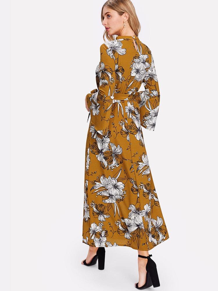 520fbe887 قطع رقبة أزهار طباعة حزام الخصر فستان | شي إن