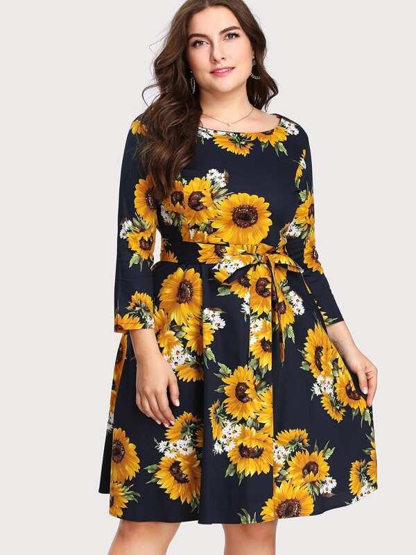 Plus Sunflower Random Print Self Tie Waist Dress