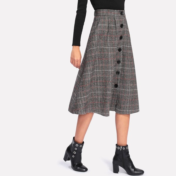 Wales Check Single Breasted Skirt, Grey