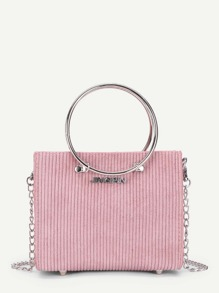 Suede Chain Bag With Ring Handle