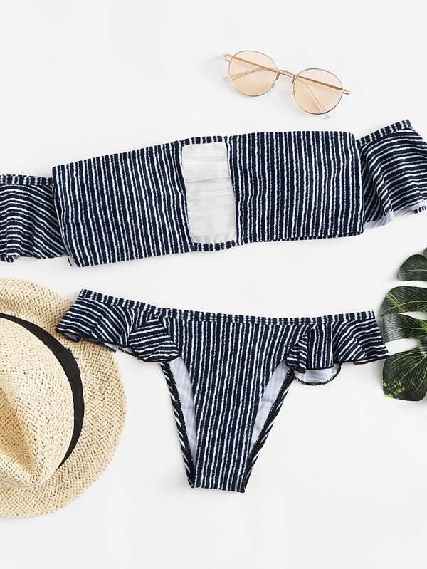 a1622b4c3e Cheap Striped Ruffle Bikini Set for sale Australia   SHEIN