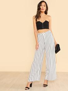 8148f9d66f Stripe Wide Hem Pants WHITE BLACK | SHEIN