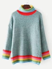 Striped Trim Turtleneck Oversized Sweater
