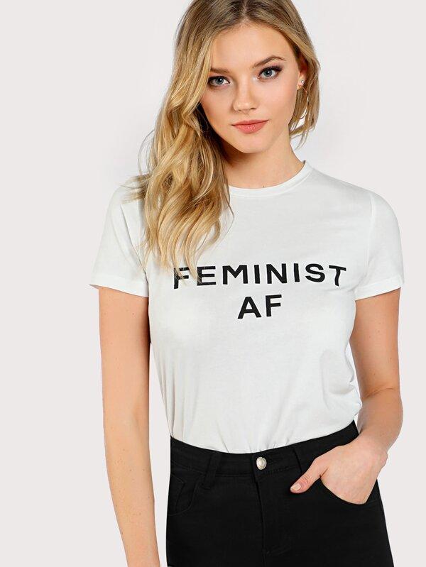 ebdd02968 Feminist AF T-shirt | SHEIN