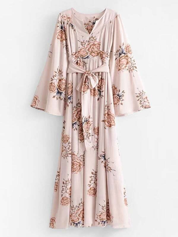 ed219eda57 Self Tie Floral Kimono Maxi Dress | SHEIN