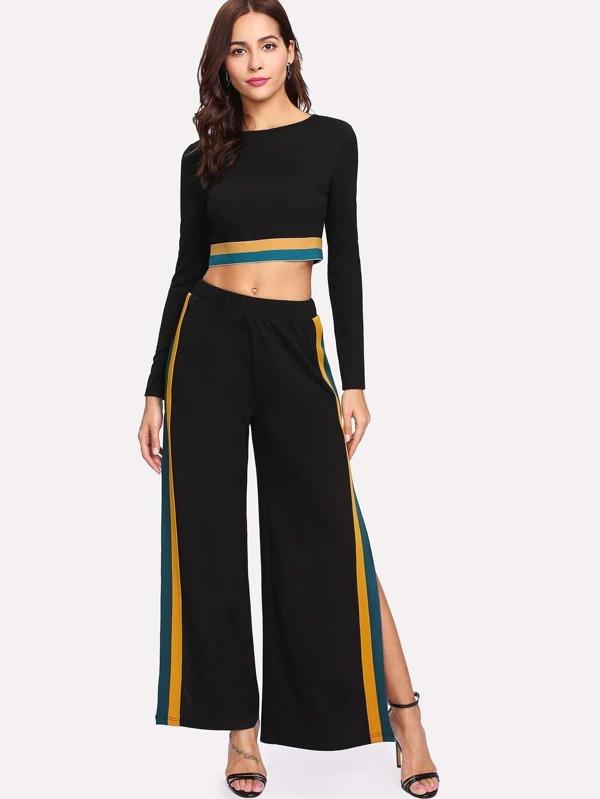 85736442b1 Striped Hem Crop Top & Split Side Palazzo Pants Set | SHEIN IN