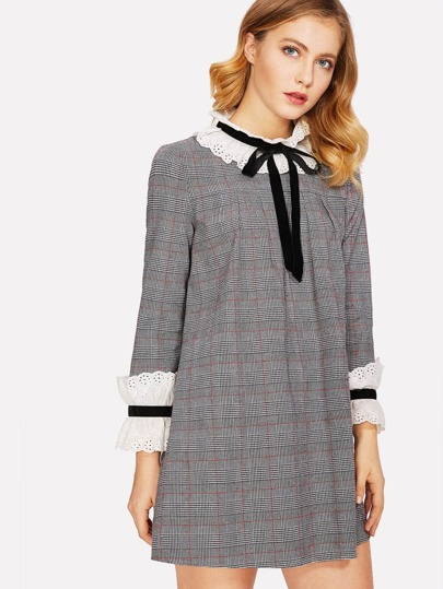 Eyelet Embroidered Frill Detail Tie Neck Plaid Dress