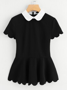 Contrast Peter Pan Collar Scallop Peplum Top
