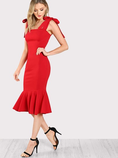 Tied Strap Pep Hem Bodycon Dress