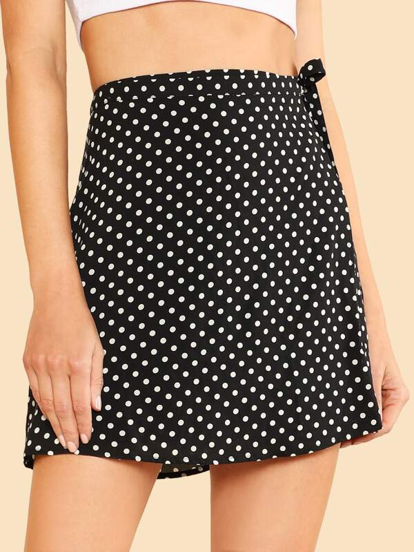 7dce0bc14 Polka Dot Print Front Wrap Skirt BLACK WHITE   SHEIN