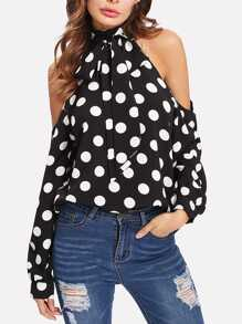 Cold Shoulder Polka Dot Halter Top