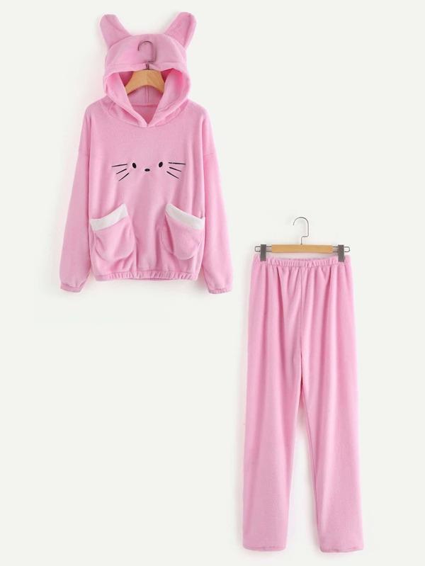 b99e72da2d Conjunto de pijama gato con capucha y bolsillo